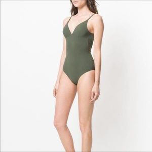 New Tory Burch olive green marina swimsuit XS